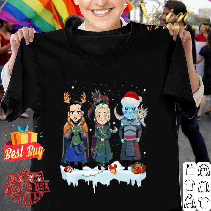 Jon Snow Daenerys Targaryen Night King chibi Christmas shirt