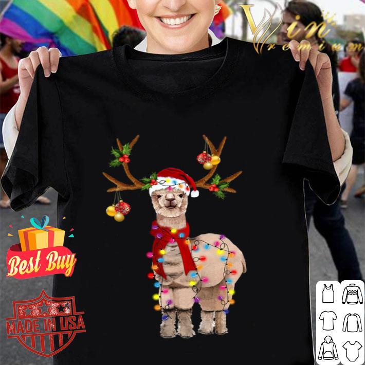 Llama santa reindeer Christmas shirt