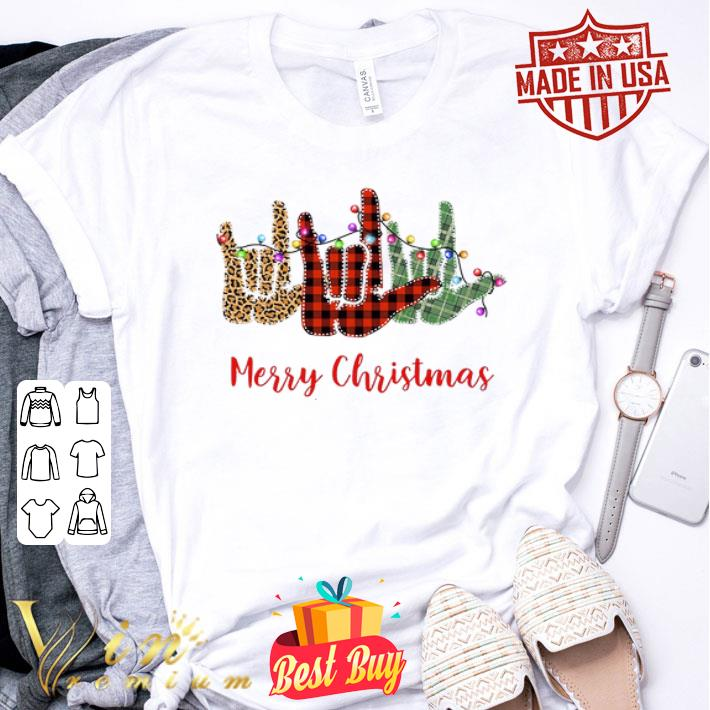 Merry Christmas Leopard Plaid sign language shirt