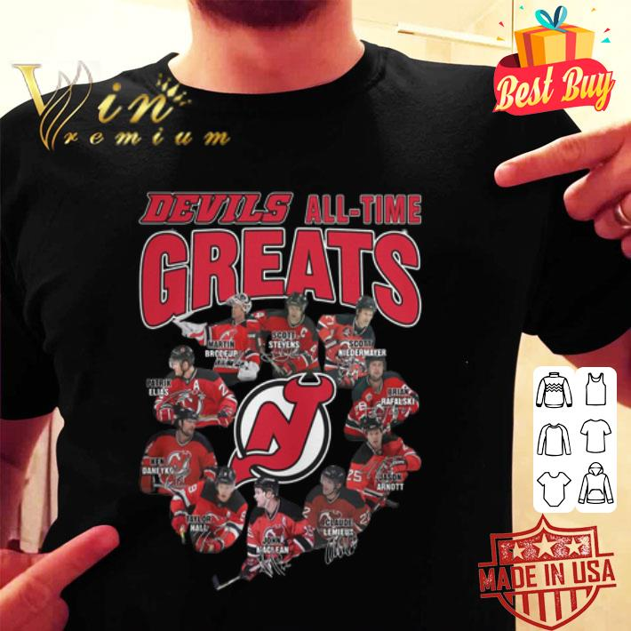 New Jersey Devils all time greats signatures shirt