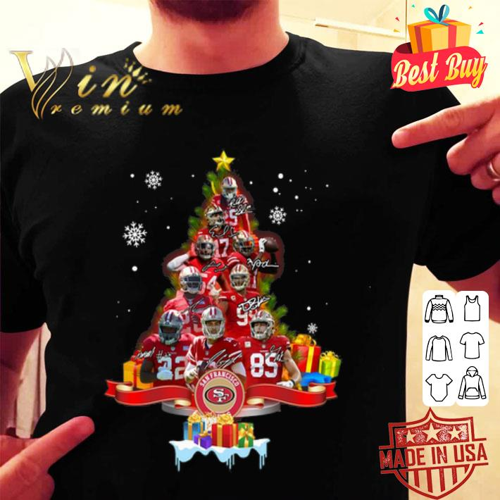 San Francisco 49ers player signatures Christmas tree shirt