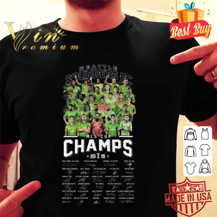 Seattle Sounders FC MLS Cup Champs 2019 signatures shirt