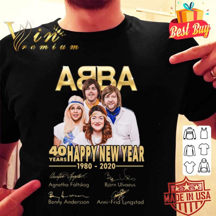 ABBA 40 years Happy New Year 1980-2020 signatures shirt