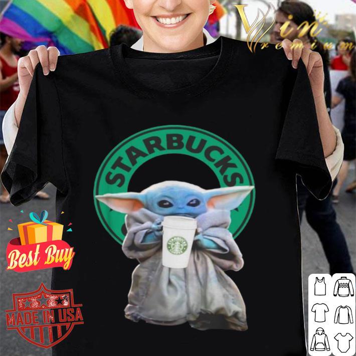 Baby Yoda drinking Starbucks Star Wars shirt