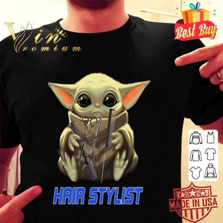Baby Yoda hug Hair Stylist Star Wars Mandalorian shirt