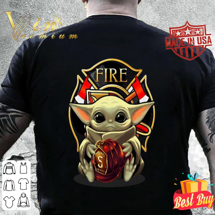 Baby Yoda hug firefighter captain hat shirt
