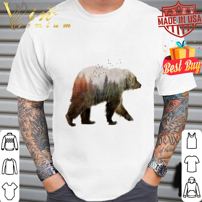Camping bear nature trees shirt