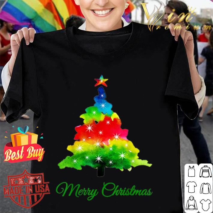 Colorful merry Christmas Tree Art shirt