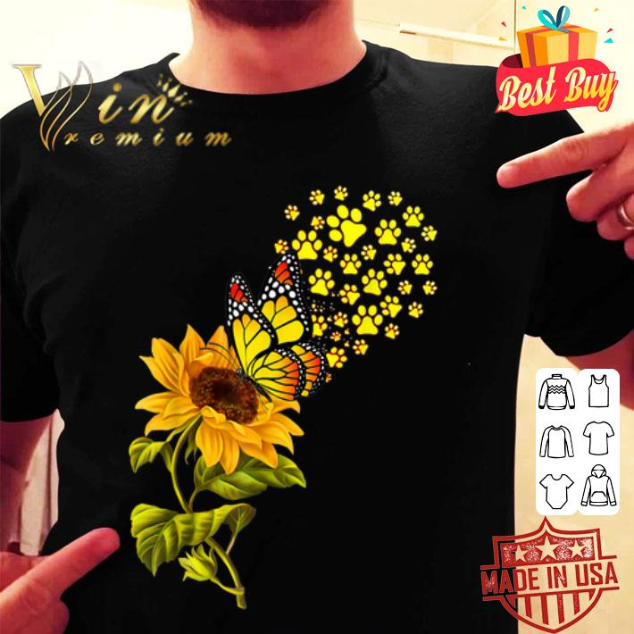 Dog Paw Sunflower And Butterfly shirt