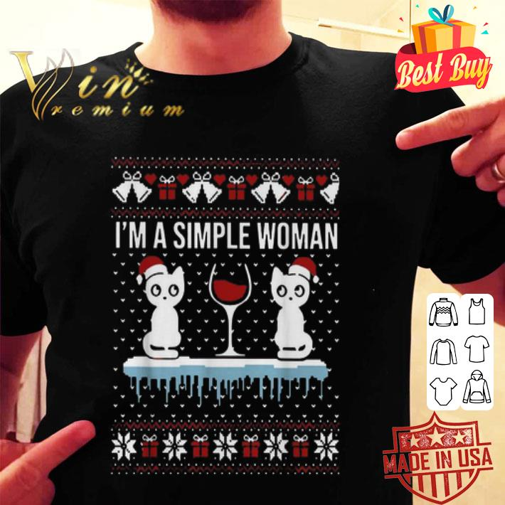 I'm a simple woman who loves cat and wine Christmas ugly sweater