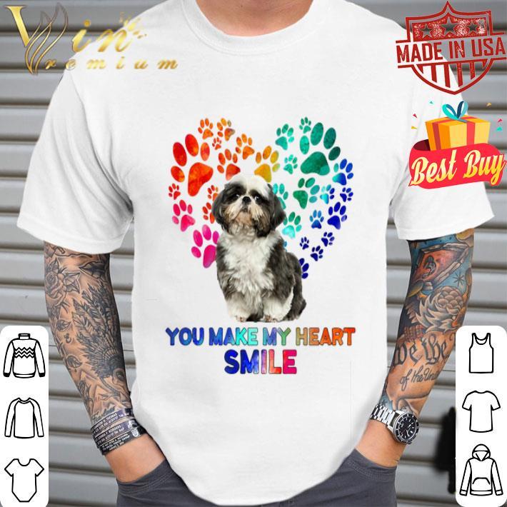 Paws color Shih Tzu you make my heart smile shirt