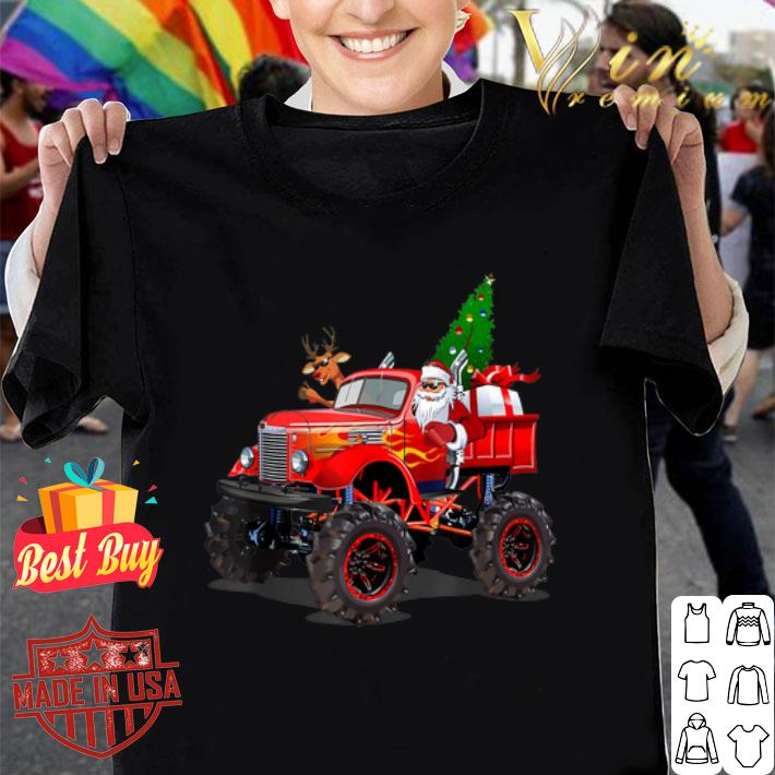 Santa And Reindeer On Monster Truck Christmas Tree shirt