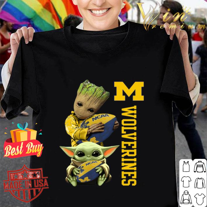 Baby Groot And Baby Yoda Hug Michigan Wolverines Star Wars shirt
