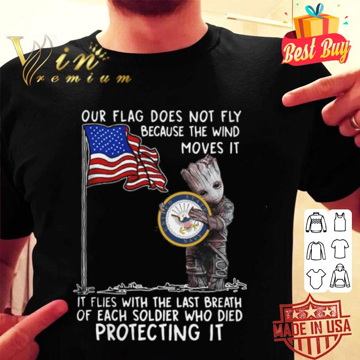 Baby Groot our flag does not fly because the wind moves it US Marine shirt