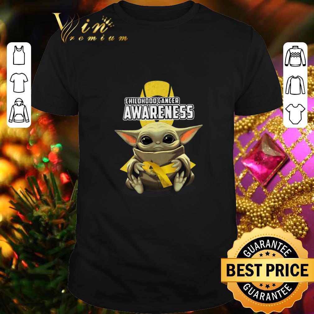 Baby Yoda Hug Childhood Cancer Awareness Star Wars Mandalorian shirt 1