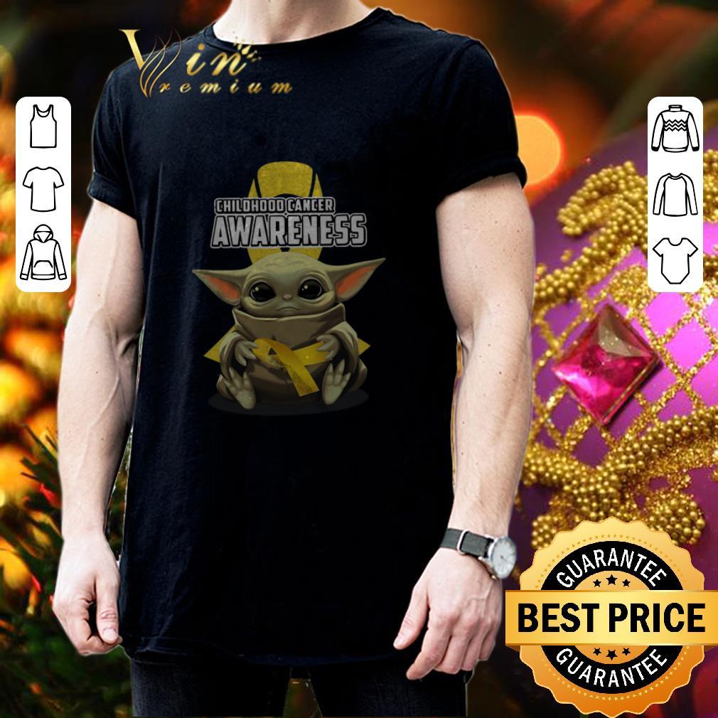 Baby Yoda Hug Childhood Cancer Awareness Star Wars Mandalorian shirt 3