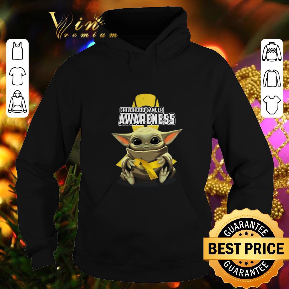Baby Yoda Hug Childhood Cancer Awareness Star Wars Mandalorian shirt