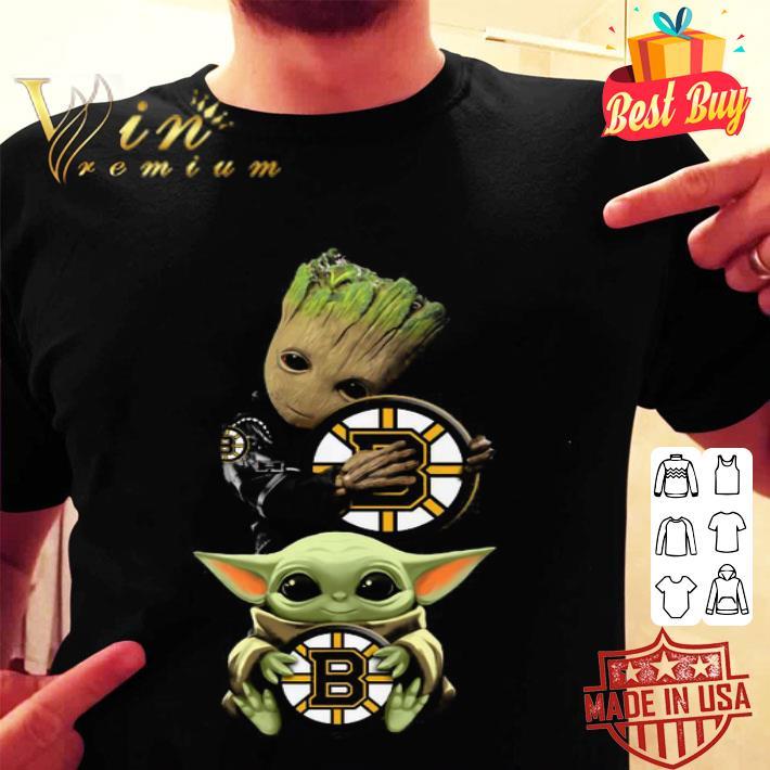 Baby Yoda and Baby Groot hug Boston Bruins Star Wars shirt