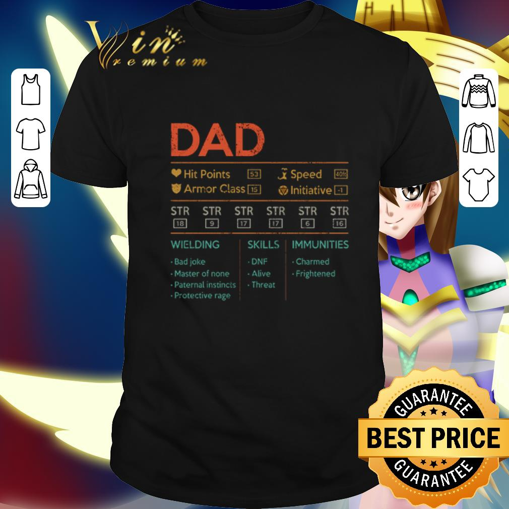 Dad hit points speed armor class initiative wielding vintage shirt