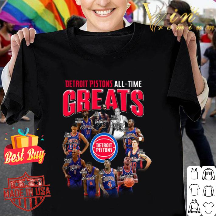 Detroit Pistons all time greats signatures shirt