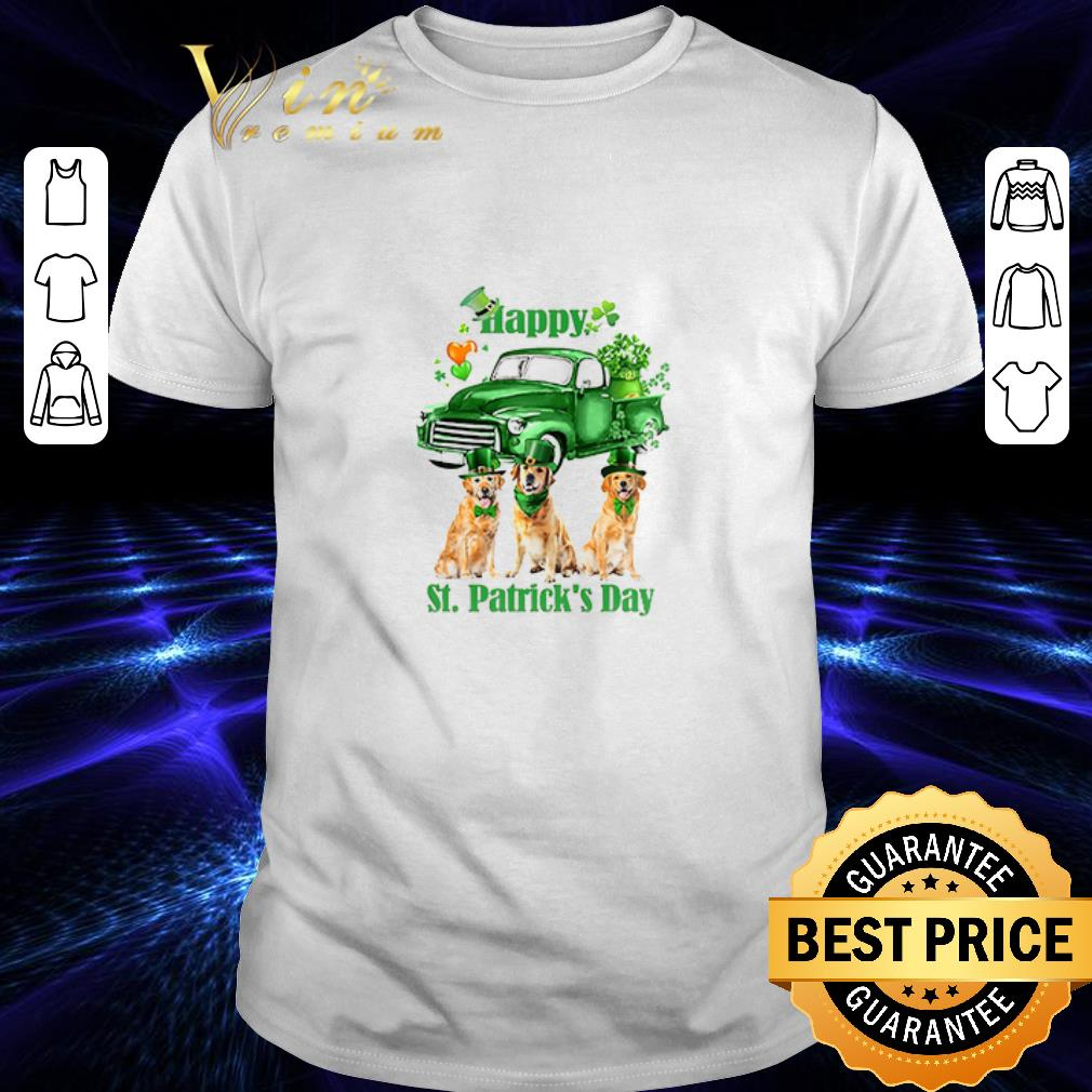 Golden Retriever Happy St Patrick's Day Four-leaf clover shirt