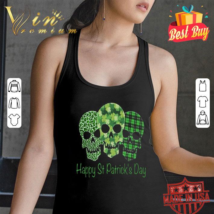 Happy St Patrick's Day Leopard Plaid Four Leaf Clover Skull shirt
