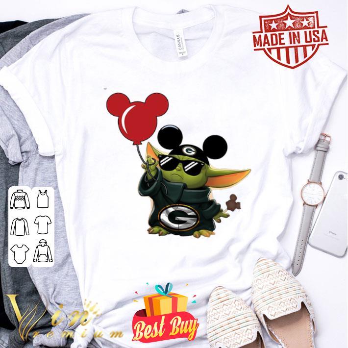 Mickey Mashup Baby Yoda Holding Balloon Green Bay Packers shirt