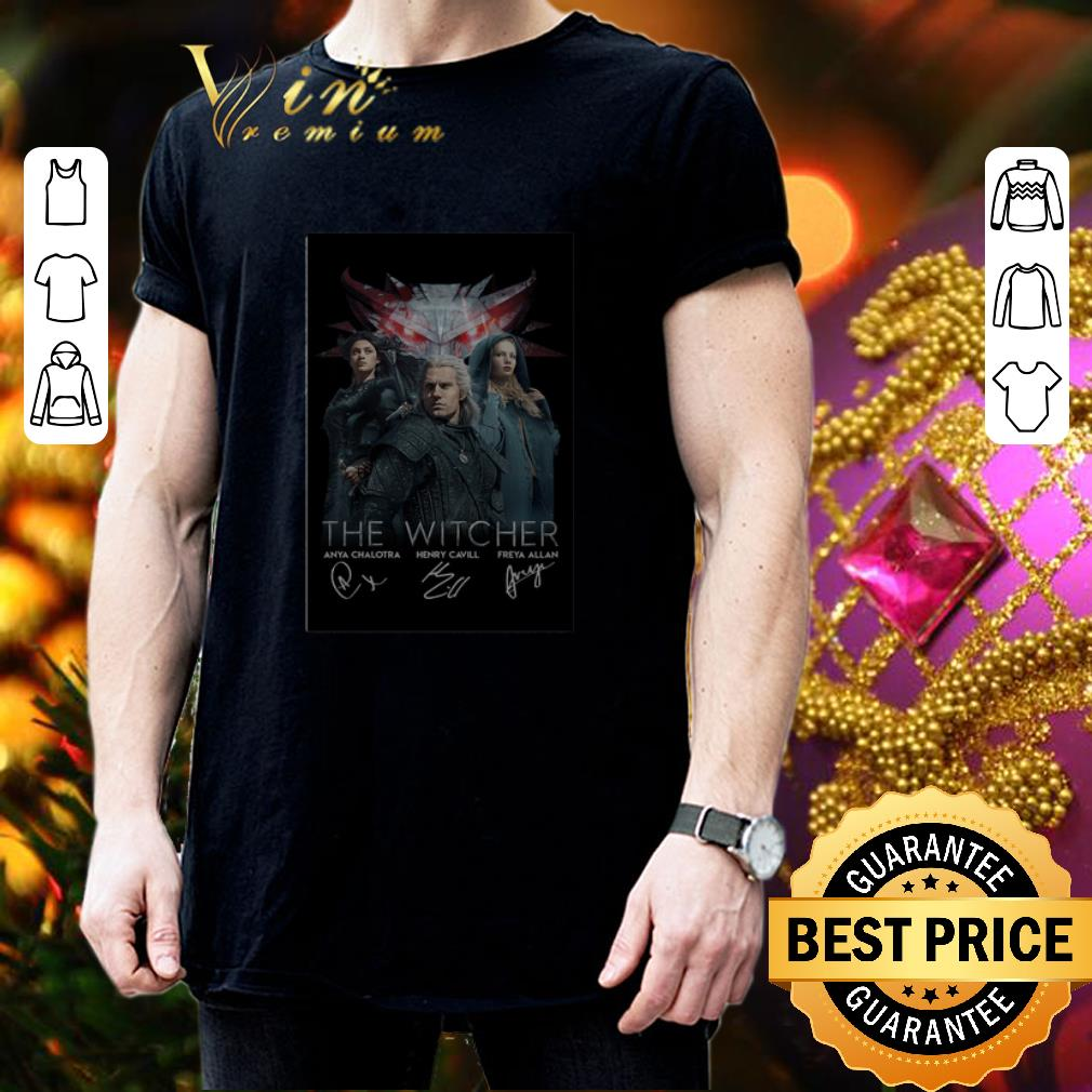 The Witcher Anya Chalotra Henry Cavill Freya Allan autographed shirt