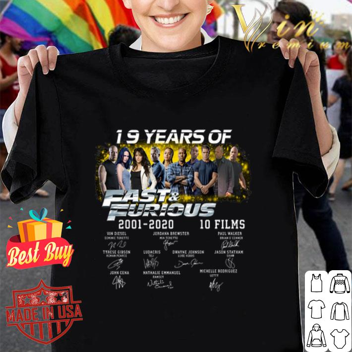19 years of 2001 2020 Fast & Furious 10 films signatures shirt