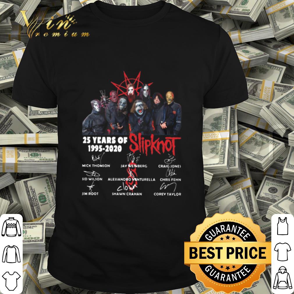 25 Years Of Slipknot 1995 2020 signatures Heavy Metal rock shirt