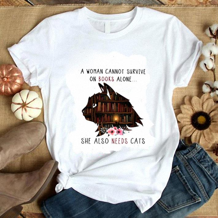 Clickbuypro Unisex Tshirt A Woman Cannot Survive On Books Alone She Also Needs Cats Shirt Hoodie White 4xl