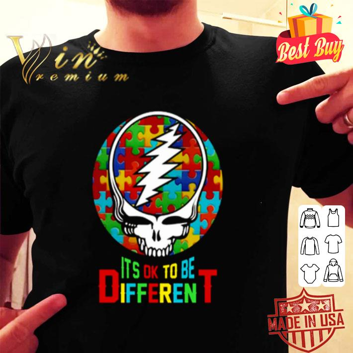 Autism Grateful Dead logo it's ok to be different shirt