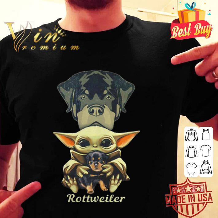 Baby Yoda hug Rottweiler dog Star Wars shirt