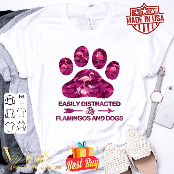 Clickbuypro Unisex Tshirt Easily Distracted By Flamingos And Dogs Shirt T-shirt White L