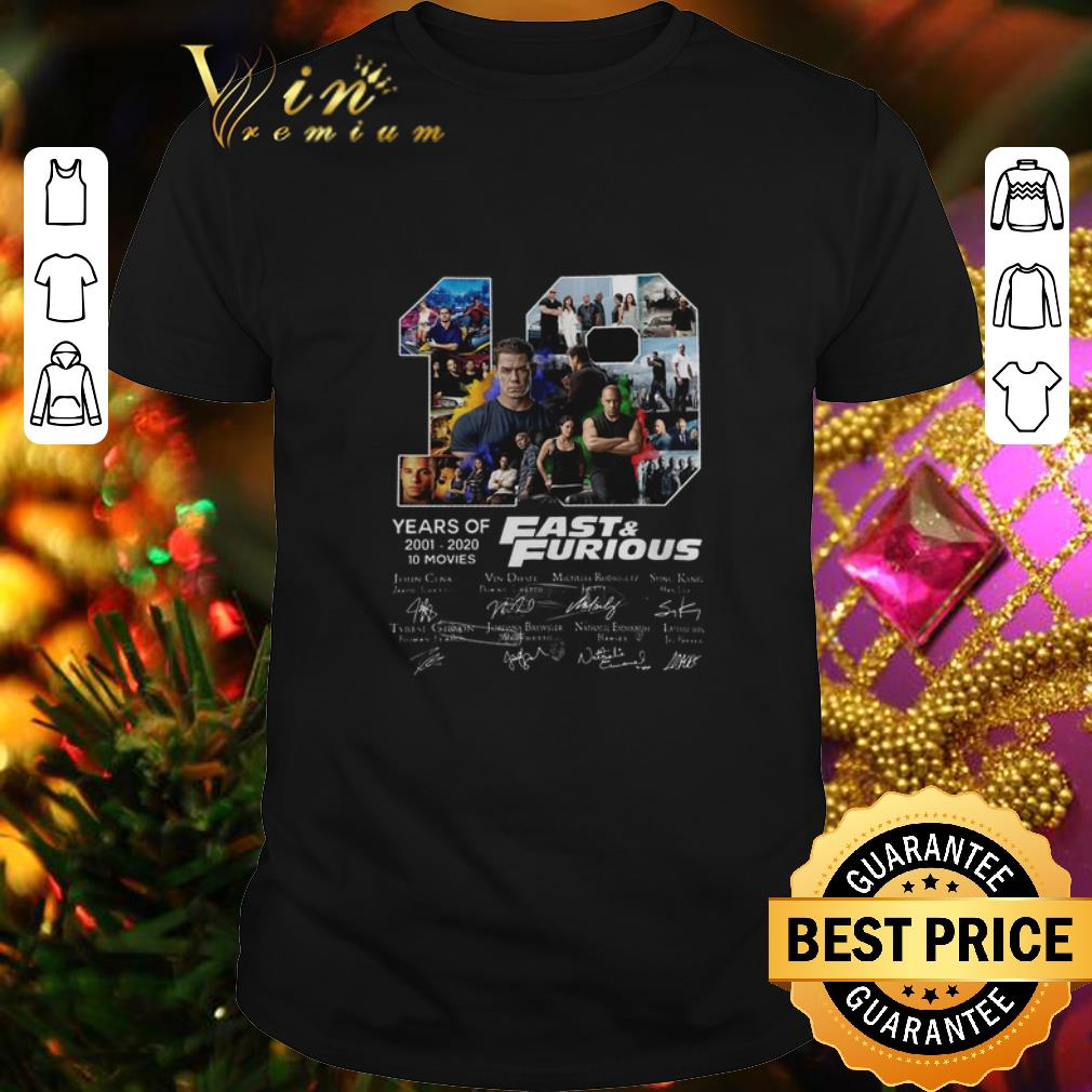 Fast & Furious 19 Years of 2001 2020 10 movies signatures shirt