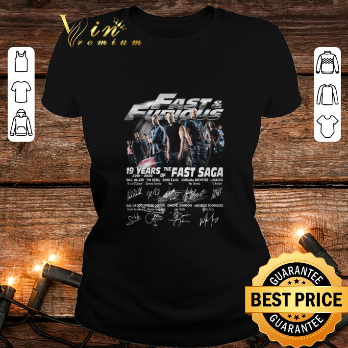 Fast & Furious 19 years of the Fast Saga 2001 2020 signatures shirt