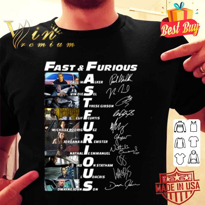 Fast & Furious Paul Walker Vin Diesel Dwayne Johnson signatures shirt