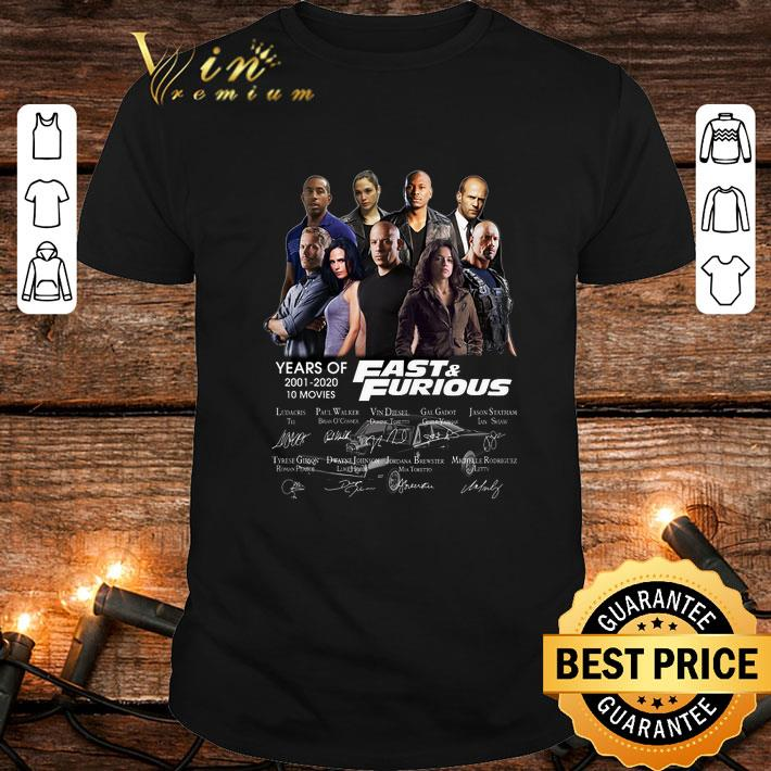 Fast & Furious years of 2001 2020 10 movies signatures shirt