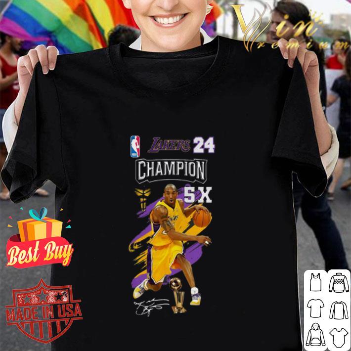 Kobe Bryant NBA Los Angeles Lakers 24 Champion 5X signature shirt