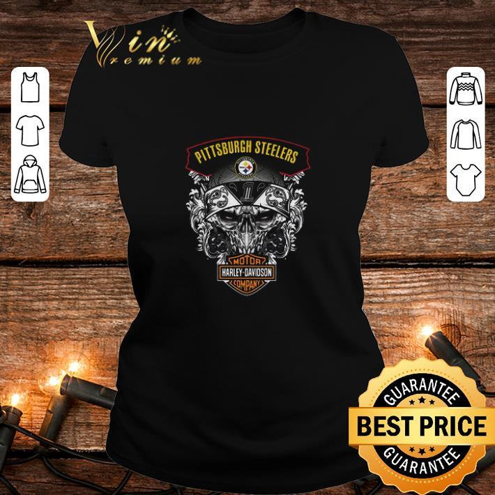 Skull Pittsburgh Steelers Mashup Motor Harley Davidson Company shirt