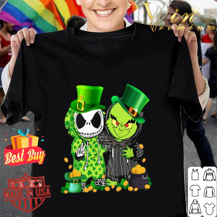 Clickbuypro Unisex T-shirt St Patricks Day Baby Jack Skellington And Baby Grinch Shirt Hoodie Blue L