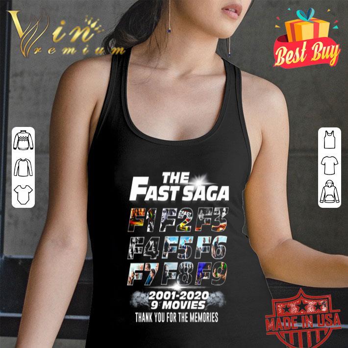 The Fast Saga F1-F9 2001-2020 9 movies Fast and Furious shirt