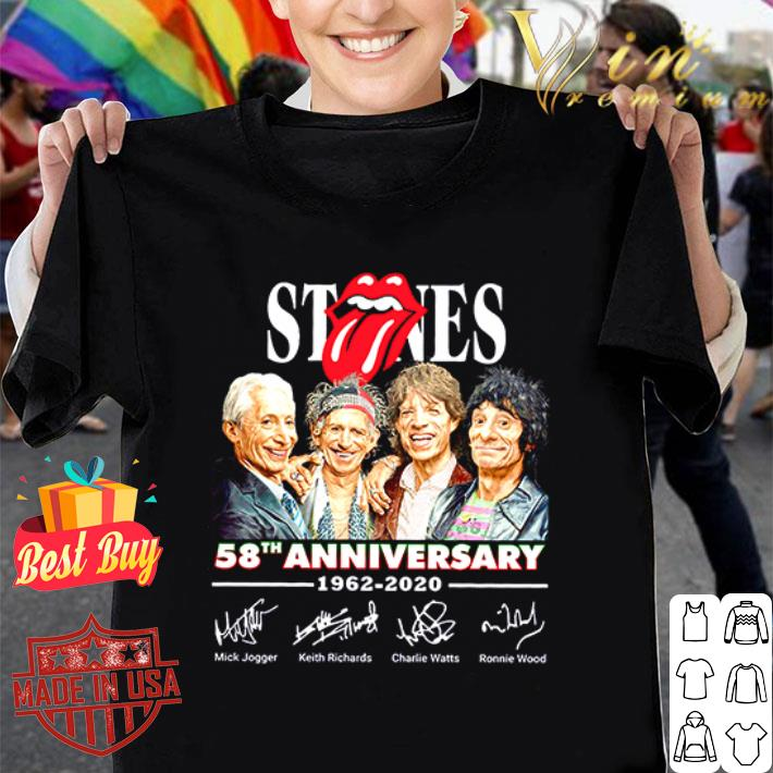 The Rolling Stones Logo 58th anniversary 1962-2020 signatures shirt