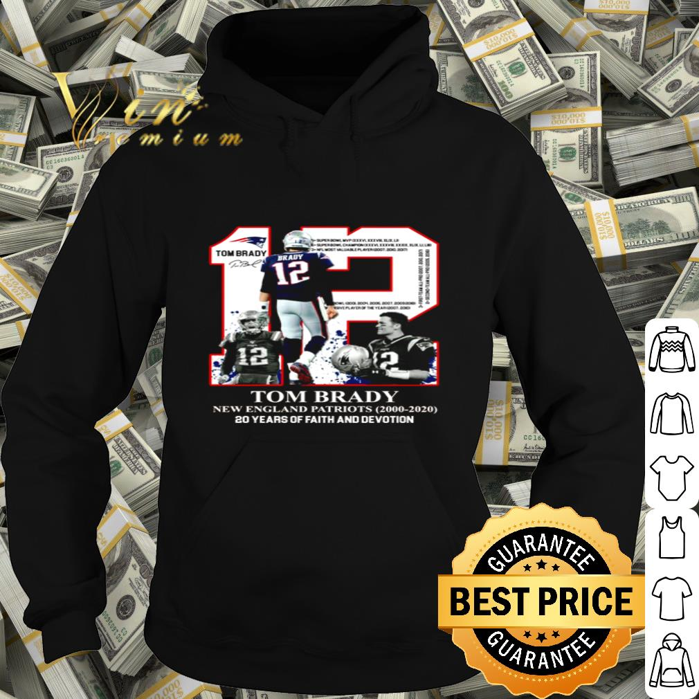 12 Tom Brady New England Patriots 20 years of faith and devotion shirt