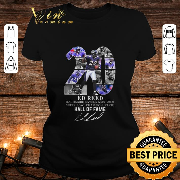 20 Ed Reed Baltimore Ravens 2002 2012 Super Bowl Champion Hall of Fame Signature shirt