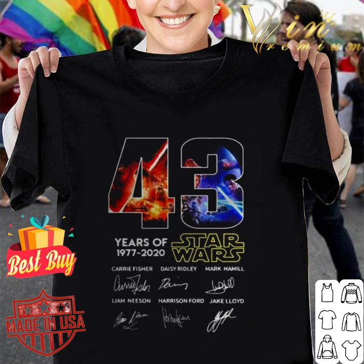 43 years of Star Wars 1977 2020 all signature shirt