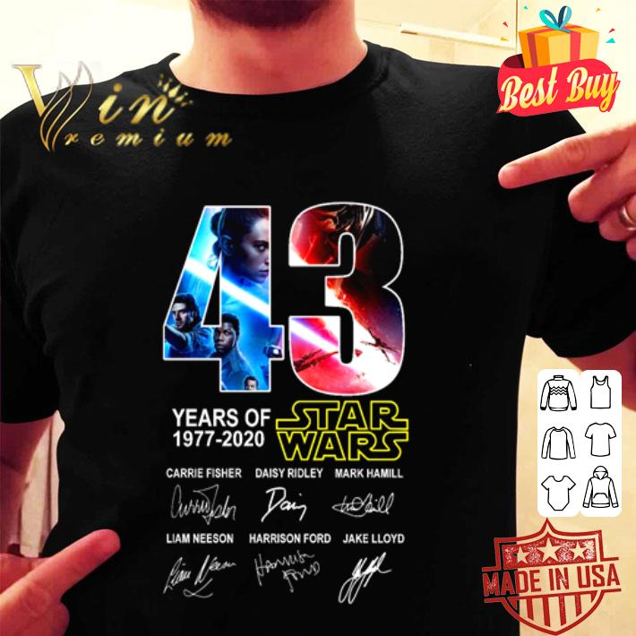 43 years of Star Wars 1977 2020 characters signatures shirt