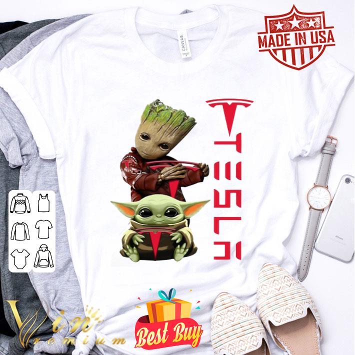 Baby Groot And Baby Yoda Tesla Star Wars shirt