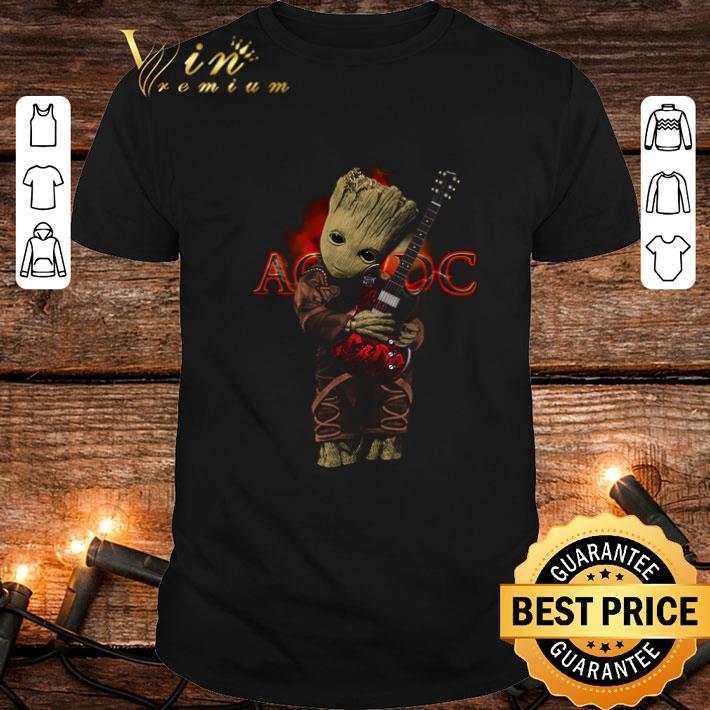Baby Groot hug ACDC logo guitarist shirt