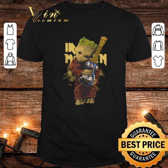 Baby Groot hug Iron Maiden guitar shirt